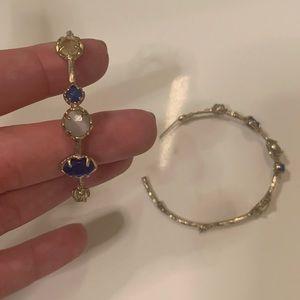 Kendra Scott hoop earrings large blue clear stones